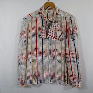 Vintage Polka Dot Striped Blouse Bow Tie M